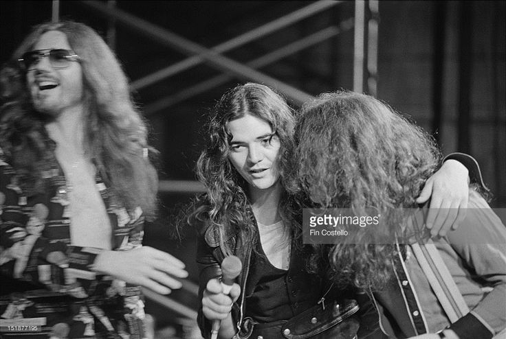 LOS ANGELES, USA - 1st NOVEMBER: David Coverdale, Tommy Bolin and bassist Glenn Hughes from Deep Purple perform on stage at Columbia rehearsal studios in Los Angeles, USA in November 1975.