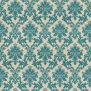 Oat Damask Teal from Fabricut's Chromatics XXIII Collection. Available at Workroom Couture Home.
