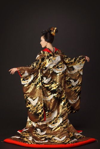 Kimono - I have a wedding kimono very similar to this design but it is white with silver embroidery. It hangs on my bedroom wall.