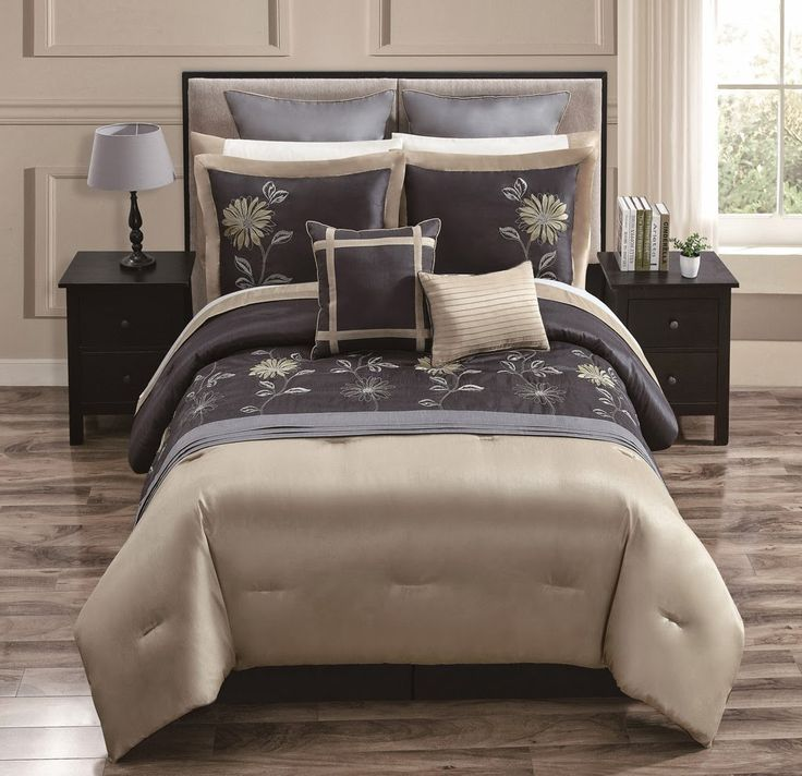 Comforter Cover Beige and Brown with Art Work - 4 Piece