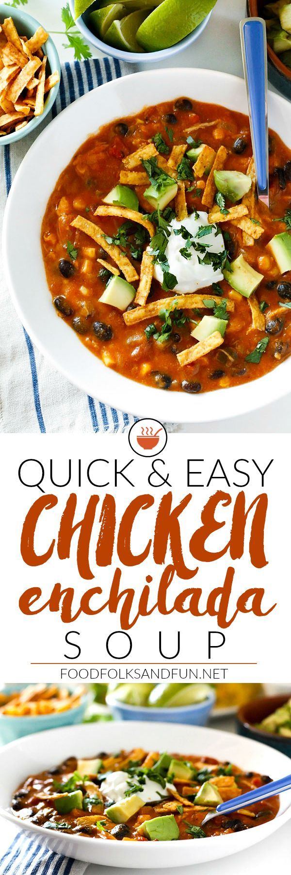 This quick and easy Chicken Enchilada Soup recipe is cheesy, thick, and deliciously loaded with black beans, corn, tomatoes, green chili and cheese! The best part is that it's ready in 30 minute or less! |Easy Dinner | Enchilada Soup Recipe | Quick and Easy recipe | Chicken recipe
