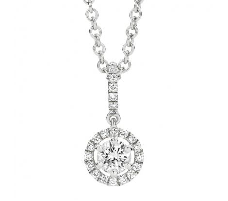 This diamond pendant features a diamond set bale with a round, halo set diamond drop. It features 0.45ct of diamonds TDW and are a stunning dress accessory