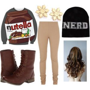 Cool outfit with nutella shirt !  Including hair style !!!