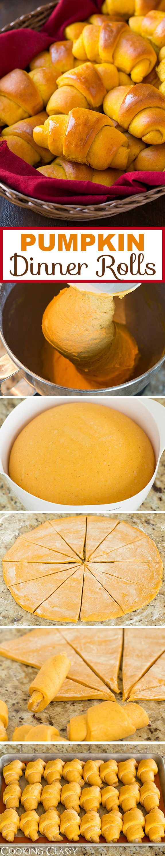 Pumpkin Dinner Rolls - A THANKSGIVING MUST! These are soft and fluffy and they have the perfect amount of spice. Love the pumpkin flavor and beautiful natural color. Be sure to make the cinnamon honey butter with them too!