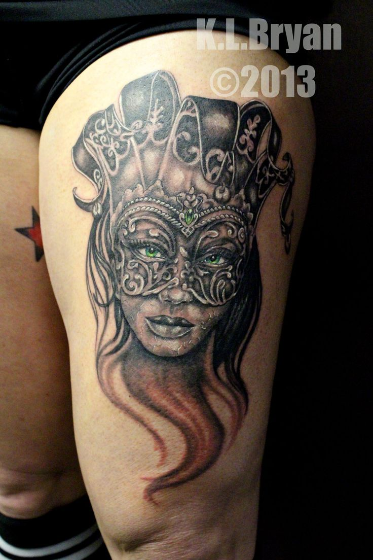 44 best gas mask tattoos collection - Beautiful Grey Ink Female Jester In Mask Tattoo On Thigh By Danktat