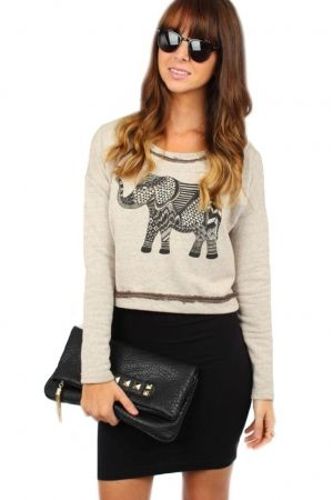 Cream Elephant Sweater. Love the entire outfit.