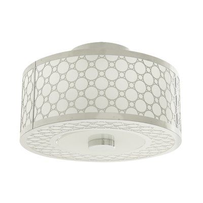 DVI DVP5813CH-SD 2 Light Trilogy Semi Flush Ceiling Light, Chrome This DVI item is offered in a chrome finish. Features stardust shade(s). Requires two