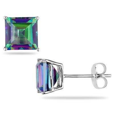 I need good stud earings, not yellow gold, but maybe white gold, really loving the mystic topaz stone Princess-Cut Mystic Fire® Topaz Stud Earrings in 10K White Gold