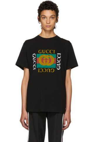183a718b2 Gucci - Black Tiger logo t-shirt | TOPS ETC. in 2019 | Gucci outfits ...