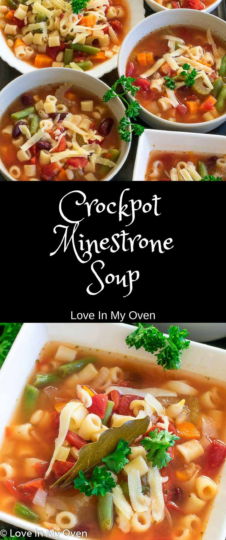Skip the can and try this super easy dump-and-go slow-cooker minestrone soup that is loaded with hearty, fiber-rich vegetables - it tastes amazing! Perfect for meatless Monday! via @loveinmyoven