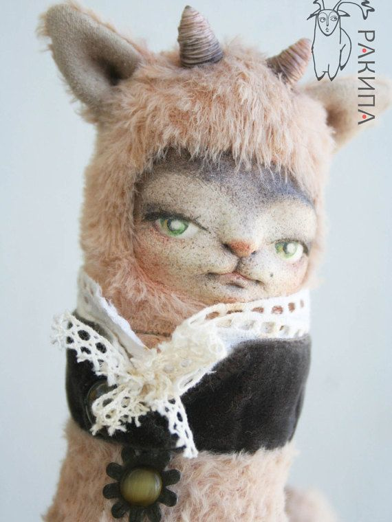 Unusual stuffed animal toy Fantasy author's toys Collectable toys Handmade toys Teddy friends Forest beasts Dwellers tales Teddy doll OOAK
