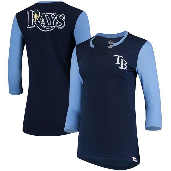 Tampa Bay Rays Majestic Women's Above Average Three-Quarter Sleeve V-Notch T-Shirt - Navy/Light Blue - $34.99