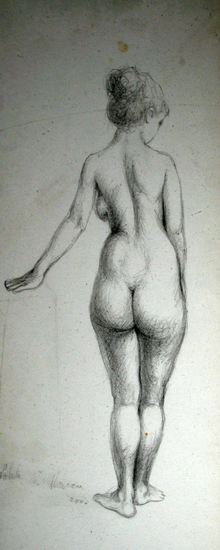 studiu de nud feminin vazut din spate, contrapost cu sprijin. creion, detaliu