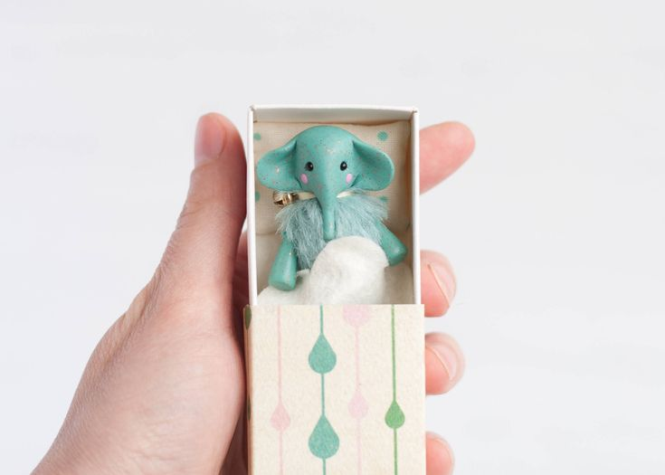 Sky blue elephant matchbox bed art tiny miniature handmade pocket turquoise toy clay animal poseable figurine BJD, YoSD, Blythe by UnderUmbrelland on Etsy