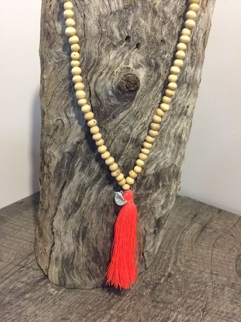 Necklace - Tassel Natural Orange