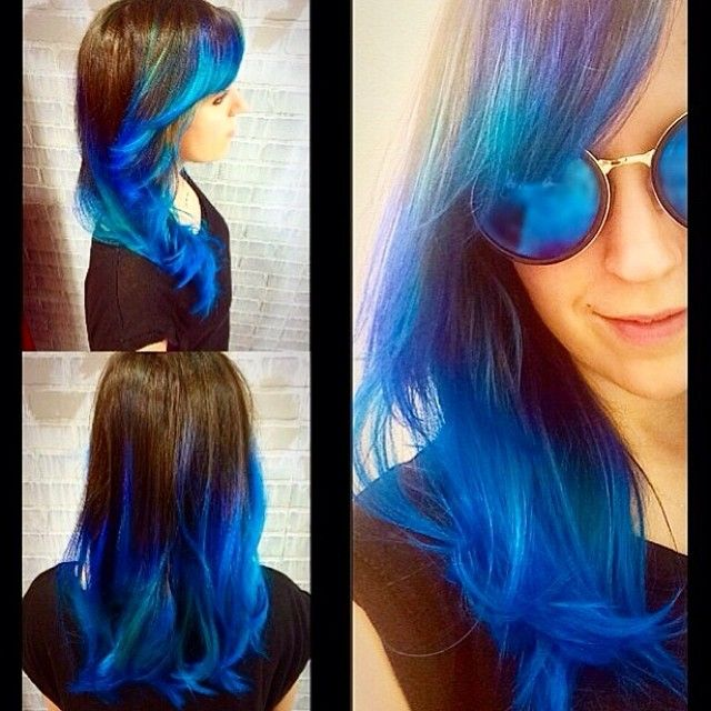 Manic Panic Blue Ombre with Rockabilly Blue & Atomic Turquoise. #manicpanic
