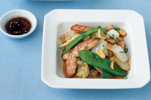Warm chicken, peanut and Chinese cabbage salad