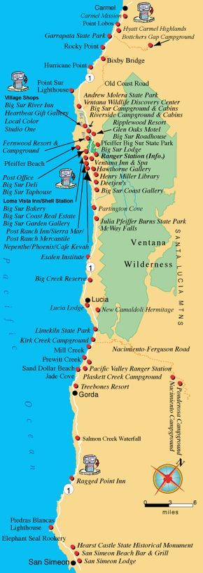 Big Sur Map - Things to do in Big Sur area of California and creating an itinerary up and down the western coast - coastal day trips - girlfriend weekend trip ideas - romantic getaway locations - bang for your buck on a budget near the ocean