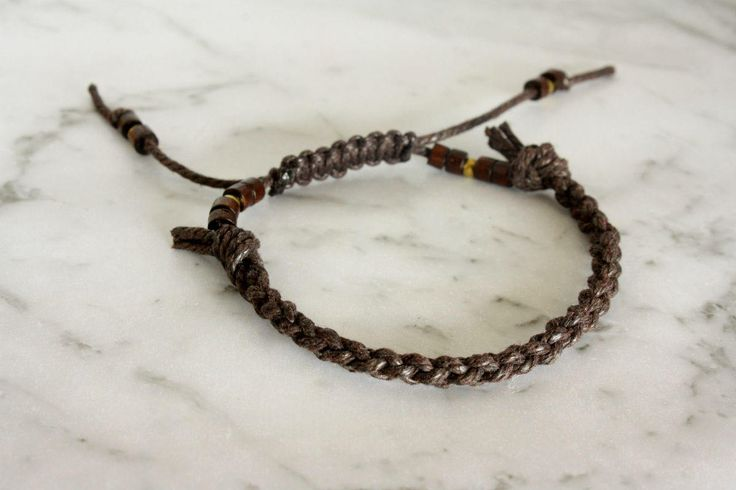 Adjustable Brown Braided Bracelet, Braided Bracelet, Adjustable bracelet, Unisex, Handmade, Woven Bracelet, Bracelet with macrame closure by LeatherTrove on Etsy