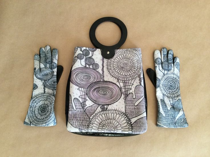 handpainted gloves and bag
