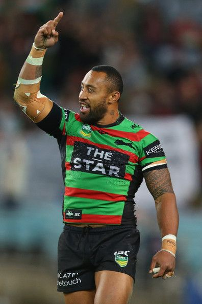 Roy Asotasi of the Rabbitohs celebrates victory during the NRL Qualifying match between the South Sydney Rabbitohs and the Melbourne Storm a...