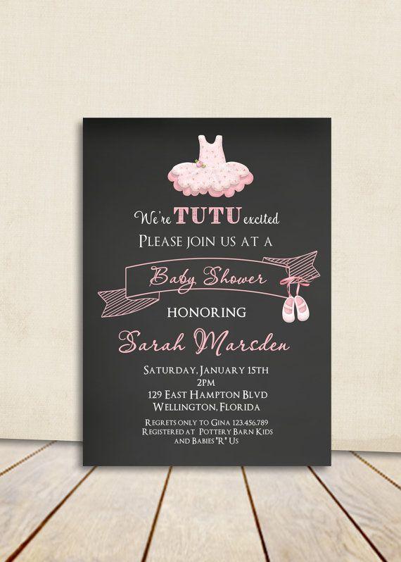 Chalkboard Tutu Cute Baby Shower Invitation - Ballerina Pink Printable Invite