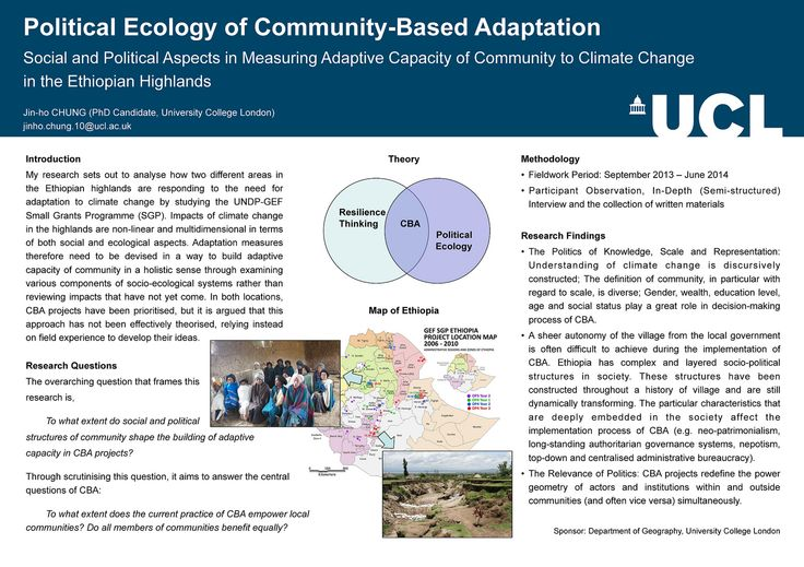 UCL: Political Ecology of CBA in the Ethiopian highlands   This poster describes a project which analysed responses to the need for CBA in two different areas in the Ethiopian highlands.   The research found that the definition of community is diverse, and gender, wealth, education level , age and social status play a role in decision-making processes related to CBA. It also found that the particular characteristics of Ethiopian society affect the CBA implementation process.   Contact…