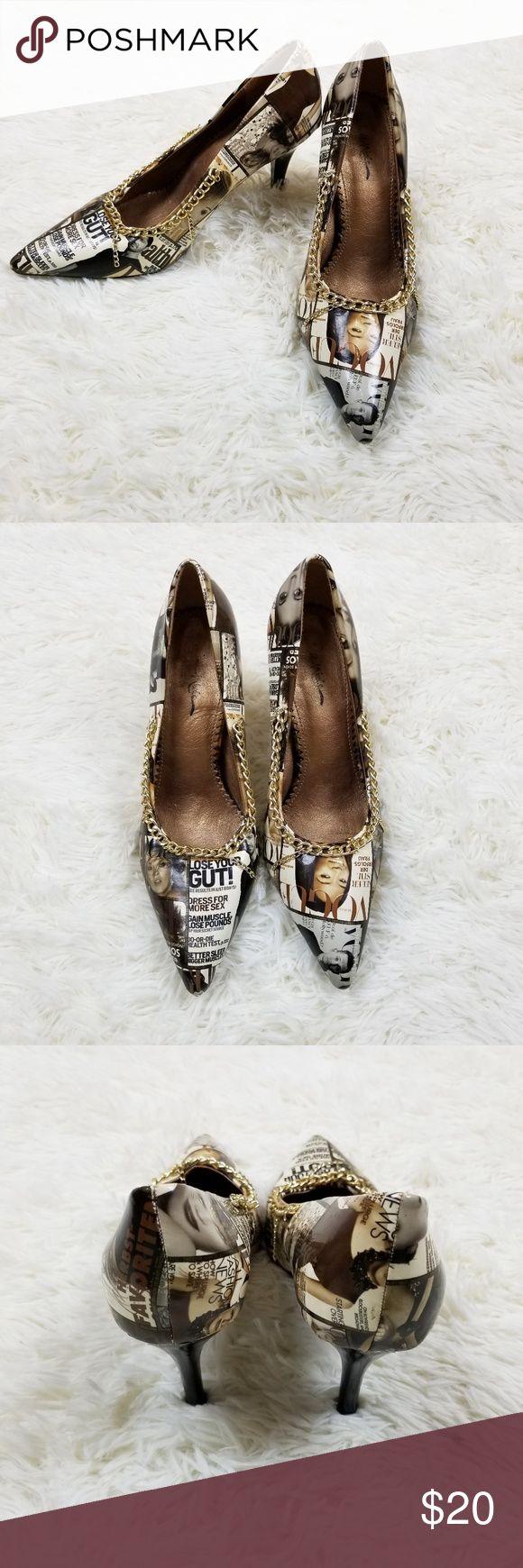 Jamie Nicole Collection Magazine Print Chain Heels