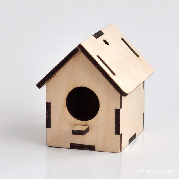 Small wooden birdhouse. Model for laser cutting from plywood. For decupage, toys, decoration use.