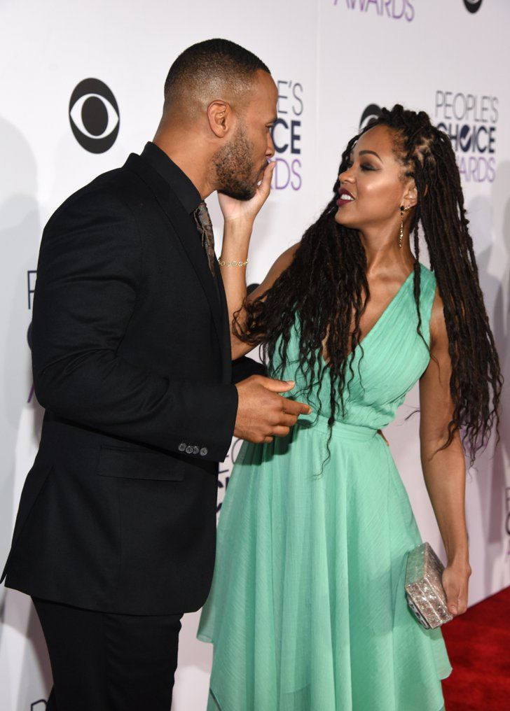 Pin for Later: 24 People's Choice Awards Moments You Didn't Catch on TV Meagan Good wiped lipstick off of her husband, DeVon Franklin. Pictured: Meagan Good