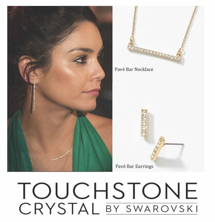 Get Vanessa Hudgens Look For Less With The Pavé Bar Necklace And Earrings Comes In