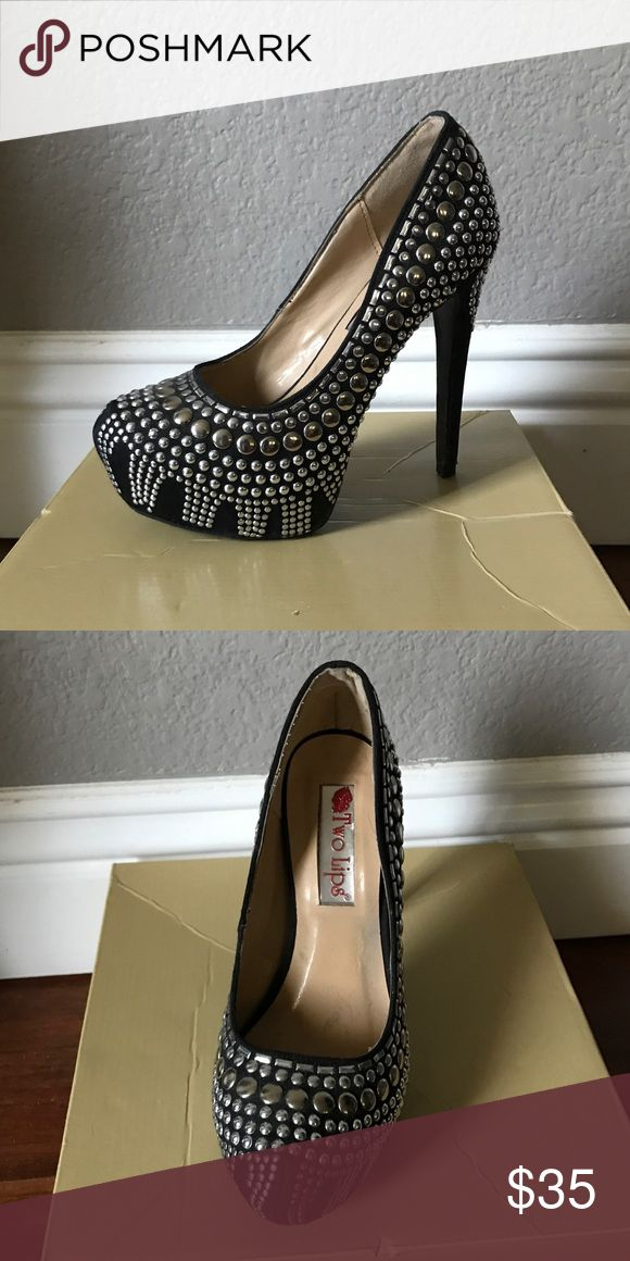 Two lips studded black pumps sz 6 worn once Two lips studded black pumps sz 6 worn once Two Lips Shoes Heels