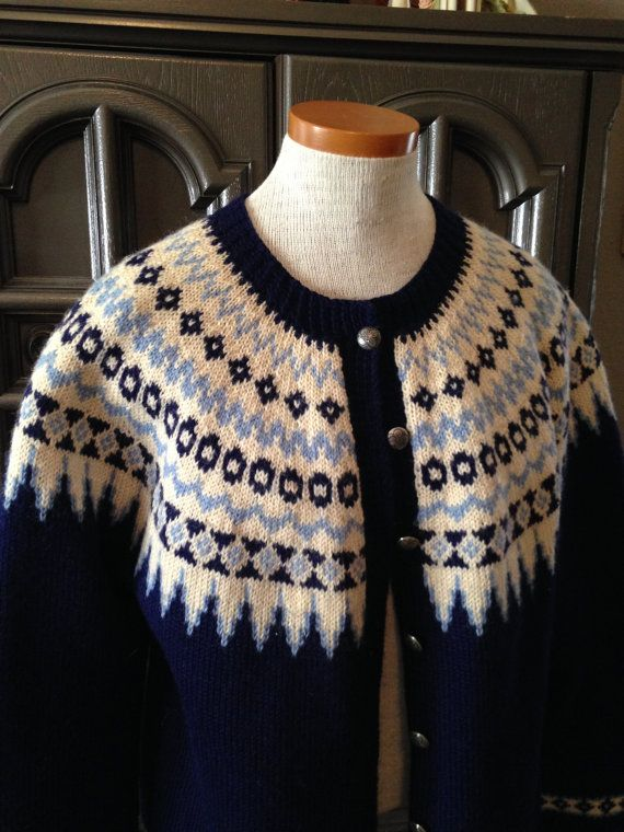 50s Hand Knit Nordic Wool Ski Sweater Cardigan Navy by CompanyV, $45.99