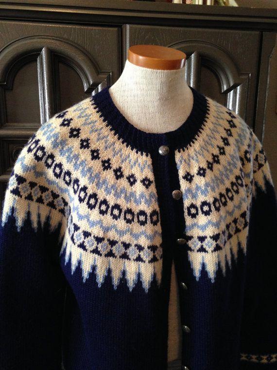 50s Hand Knit Nordic Wool Ski Sweater Cardigan Navy by CompanyV, $45.99