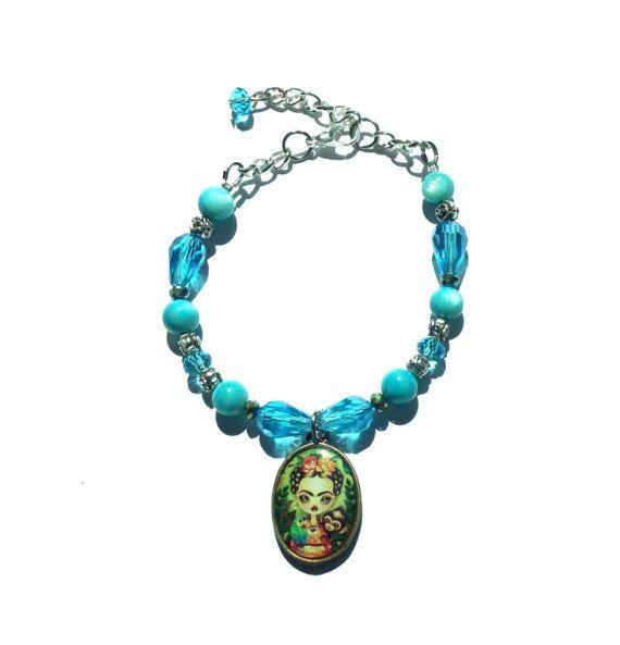 Frida Kahlo bracelet turquoise beaded Frida Kahlo bracelet
