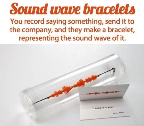 Record a sound, send it and receive a bracelet with the wave patterns! So neat.