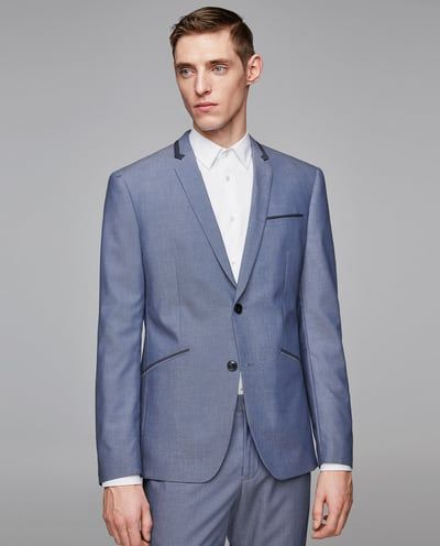 a630e3d6 TEXTURED WEAVE SUIT WITH PIPING-SUITS-MAN | ZARA United States | Suits |  Suits, Mens suits, Formal Suits