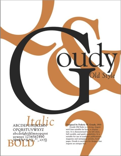 Goudy Old Style Font Family Poster-- I love typography, and designing Font Family posters is one of my favorite exercises.