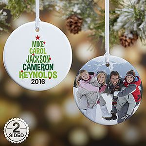Buy Personalized Family Tree Christmas Ornaments. Add your family names and a photo - Free personalization! See more Personalized Christmas Ornaments at Personalization Mall
