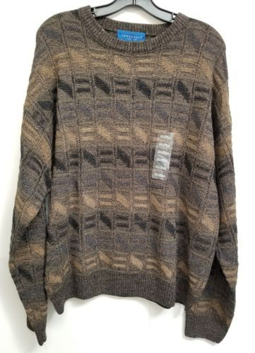 Towncraft Sweater Mens M Brown Ladder 100% Acrylic Long Sleeve, NWT