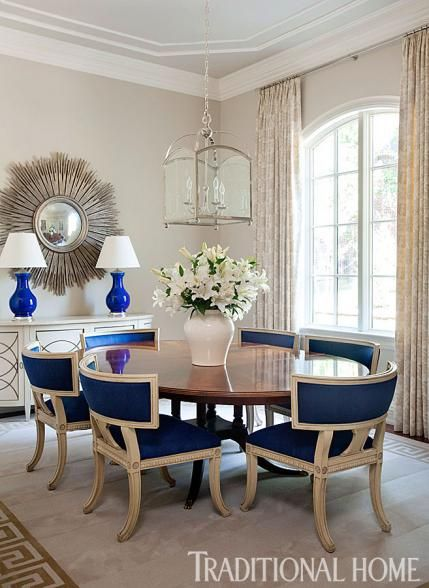 Dining Room Blue upholstered dining chairs Pendant