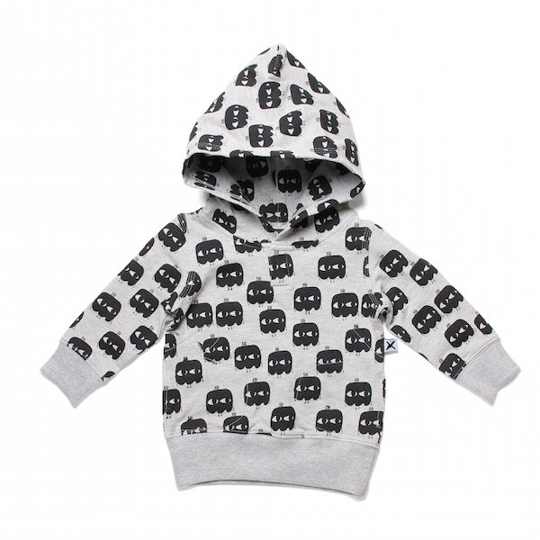 Minti Baby Buzzy Monsters Baby Mitten Hood Grey Marle