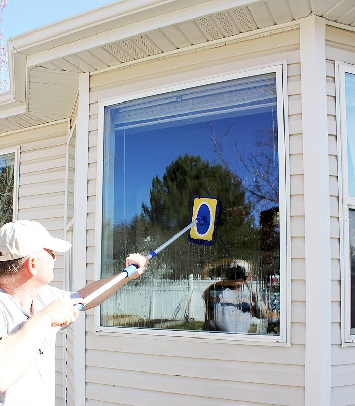 Streak-free window cleaner. . .no wiping or squeegeeing required. 3.5 oz. Jet Dry (1/2 bottle), 4 Tbsp. rubbing alcohol, 1/4 C. ammonia, 1/4 C. dry dishwashing detergent, 2 gal. hot water, car-washing brush, hose. Directions: mix above together. Spray window, mop-on solution with car-washing brush or a mop, spray off. DONE! Too bad you can't do this on the inside!!! :)