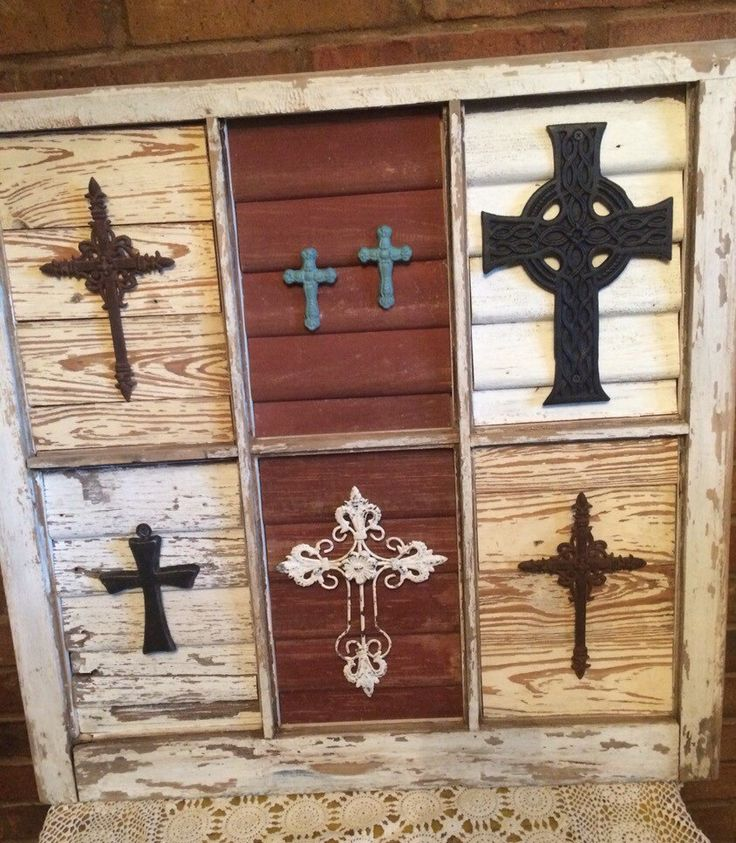 Salvaged Antique Window Frame with Repurposed Wood with Crosses by JustMeandMom on Etsy https://www.etsy.com/listing/250680144/salvaged-antique-window-frame-with
