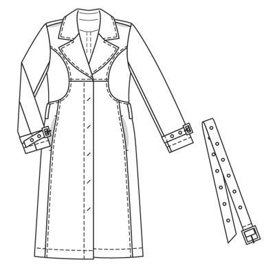 Burdastyle 10-2008-125 Trench Coat, 46-52