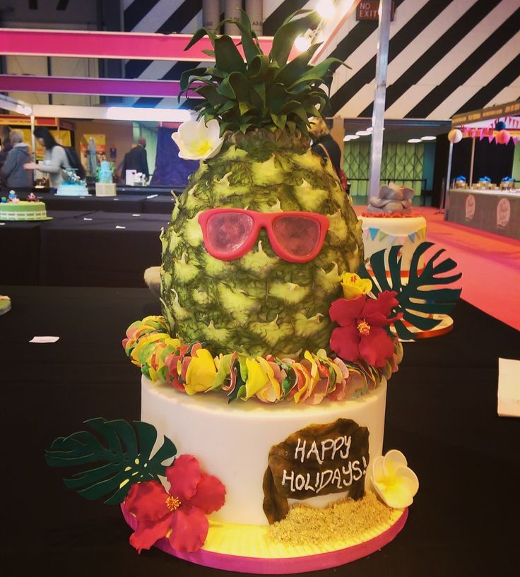Pineapple cake entry to CI with ISO alt sunglasses wafer paper lay hibiscus cheese plant and plumerias
