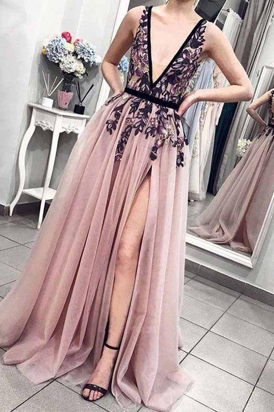 1eab9dac2f9 Charming A Line V Neck Open Back Split Blush Pink Long Prom Dresses ...