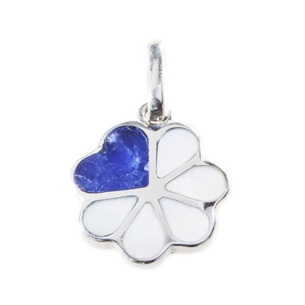 Colgante Flor Corazón Azul. Colgante de plata con detalle de sodalita. www.ccusi.com