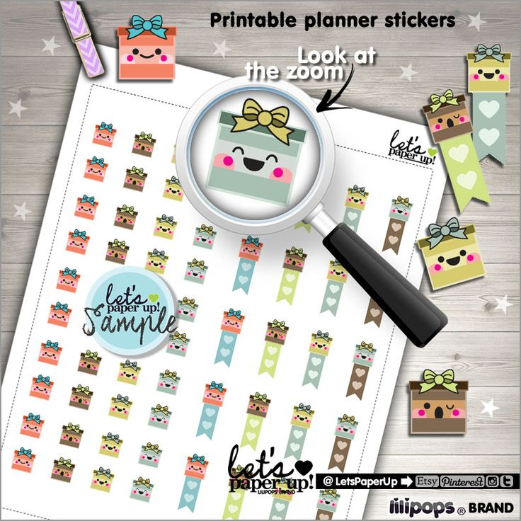 60%OFF - Gift Stickers, Printable Planner Stickers, Gift Box, Present, Birthday, Kawaii Stickers, Planner Accessories, Cute Stickers