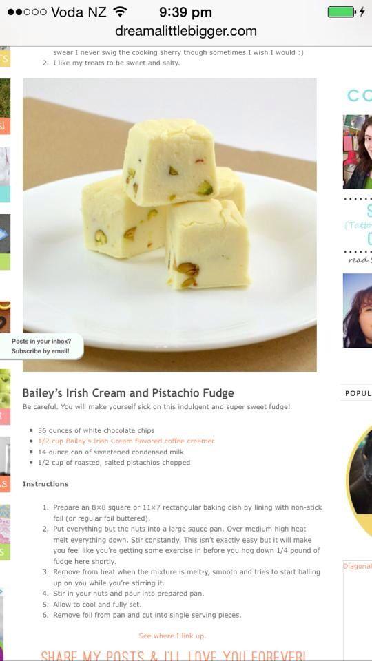Irish cream and Pistacio Fudge